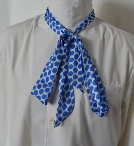 Vintage White & Blue Polka Dots Lightweight 100% Polyester Double Layer Neckerchief