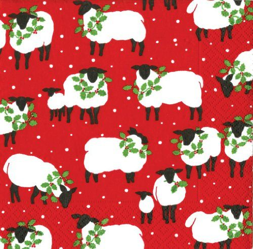 Entertaining with Caspari Festive Flock Snow Day Paper Luncheon Napkins, Red, Pack of 20