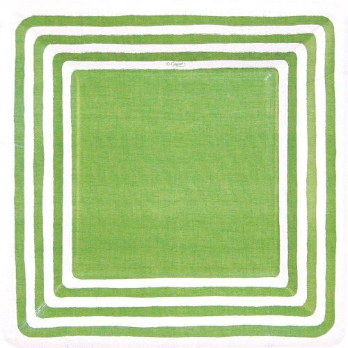 Entertaining with Caspari Stripe Border Paper Salad/Dessert Plates, Green, Pack of 8