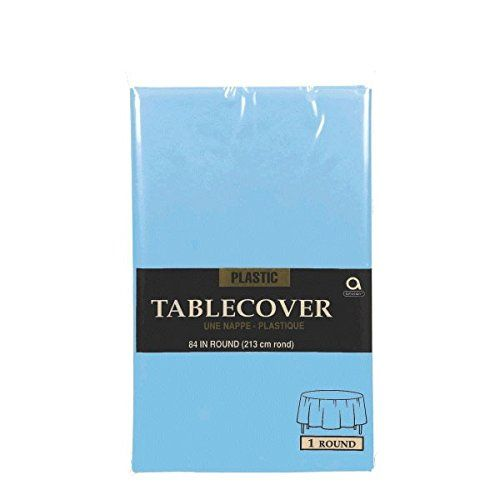 Reusable Plain Round Table Cover Party Tableware, Powder Blue, Plastic, 84""