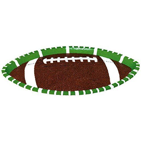 Amscan Football Frenzy Birthday Party Large Oval Platter (1 Piece), Green/Brown, 1.2 x 18.6""