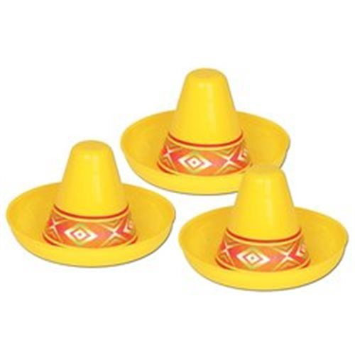 Miniature Yellow Plastic Sombrero Party Accessory (1 count)