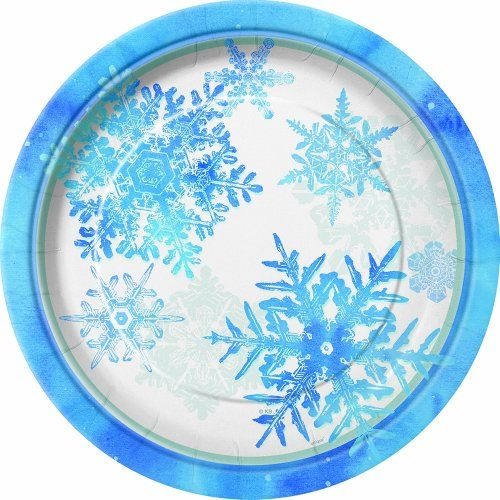 Blue & White Snowflake Dinner Plates, 8ct