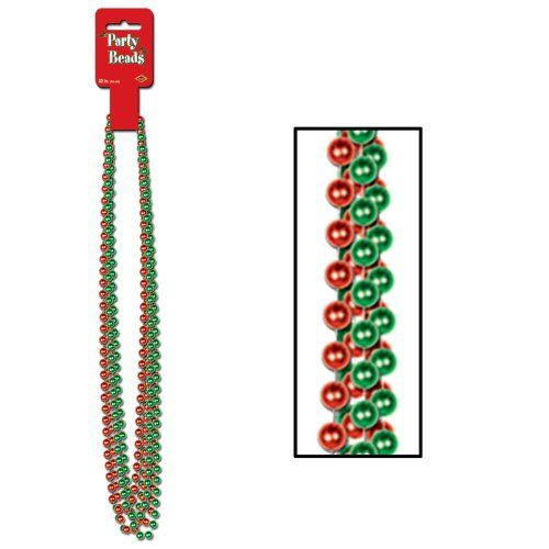 Party Beads - Small Round (asstd red & green)    (6/Card)