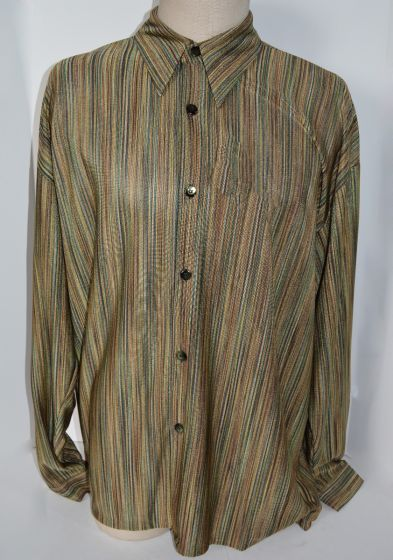 CREME DE SILK NEW Vintage Multi-Color Multitrack V3 Design 60% Rayon & 40% Poly Shirt 2XL