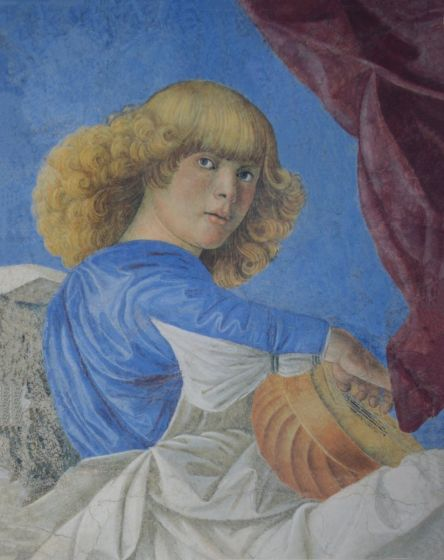 Melozzo Angel, Blonde With Lute Painting - Melozzo da Forli - TREASURES, INC.