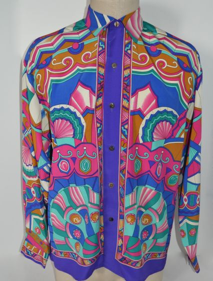 CREME DE SILK NEW Vintage Retro Occasion Design 100% Silk Shirt M