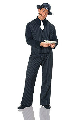 Costume Culture Men's Gangster Man Costume, Black, Standard