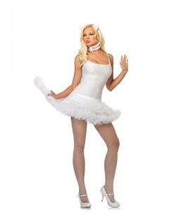 Leg Avenue Women's 3 Piece Adorable Kitty Costume Kit, White/Pink, One Size