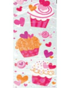Cupcake Hearts Valentine's Day Cellophane Bags, 20ct