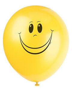 "12"" Latex Yellow Smiley Face Balloons, 6ct"