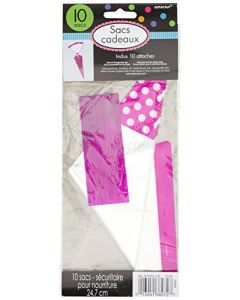 Bright Pink Cone Shaped Polka Dot Party Bag 10ct