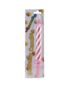 "Jumbo Birthday Candle 8-1/2""-Pink 3 Pack"