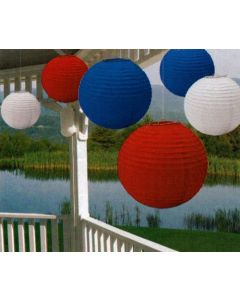 Amscan Fourth of July Party Round Lantern Hanging Decoration (6 Piece), Red/White/Blue, 15 x 13.8""