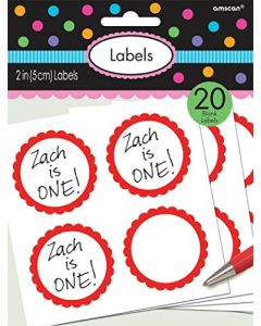 "Amscan 5 Sheets Lovely Scalloped Party Labels, 2"", Apple Red"