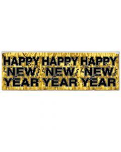 Beistle 88493-GD Gold Metallic Happy New Year Fringe Banner, 14-Inch/4-Feet