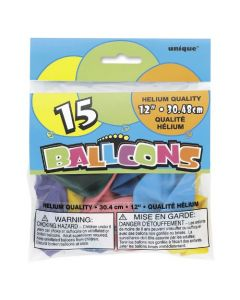 12 Inch Assorted Balloons 15pk