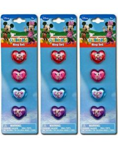 12-Piece Disney Minnie Mouse Plastic Heart-Shaped Rings