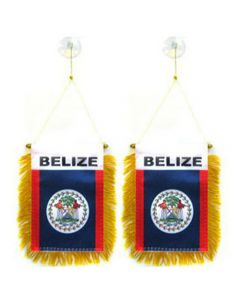 Mini Flag Banner Rearview Mirror - Hanging BELIZE Flag With Fringe Suction Cups (2-Pack)