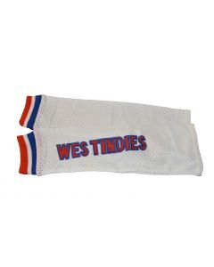 US Region of West Indies NEW WHITE Pair of Polyester Athletic Mesh Arm Sleeves WEST INDIES – XS/M