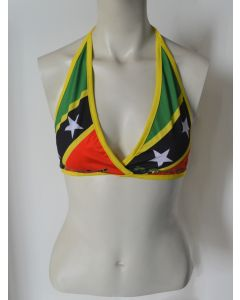 Women's NEW Vintage St. Kitts and Nevis Design Soft Wrap Halter Bikini Top