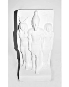 Ancient Egyptian Triads of Menkaure Statue - Blank Unpainted Ceramic Collectible Figurine
