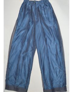 CREME DE SILK NEW Unisex Vintage Sheer Twilight Blue 100% Silk Trousers XL