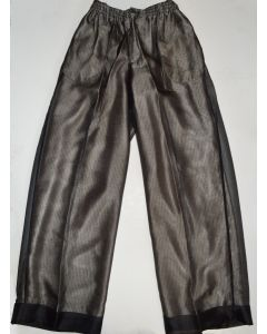 CREME DE SILK NEW Unisex Vintage Sheer Noir 100% Silk Trousers XL