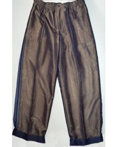 CREME DE SILK NEW Unisex Vintage Sheer Navy Yellow 100% Silk Trousers L