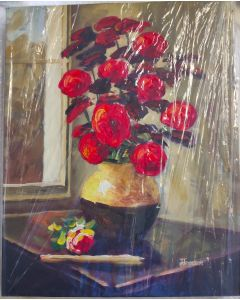 "Original Oil Painting On Canvas SUN-KISSED ROSES PAINTING, Original Art, Wall Art BY HENNSON 20""X16"""