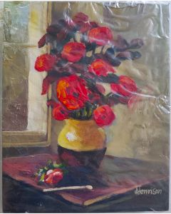 "Original Oil Painting On Canvas , SUN-KISSED ROSES PAINTING by HENNSON  10""x8"""