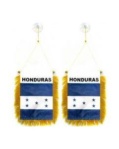 Mini Flag Banner Rearview Mirror - Hanging HONDURAS Flag With Fringe Suction Cups (2-Pack)