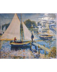 "Original Oil Painting On Canvas,Original Art, Wall Art THE SEINE at  ARGENTEUIL PAINTING 20"" 16"""