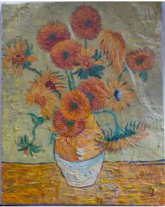 "Original Oil Painting On Canvas,Original Art, Wall Art SUNFLOWERS 20"" 16"""