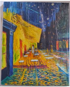 "Original Oil Painting On Canvas,Original Art, Wall Art CAFE TERRACE AT NIGHT 20""X16"""