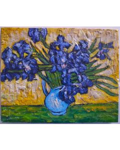 "Original Oil Painting On Canvas, Original Art, Wall Art 10""X8""-IRISES PAINTING"
