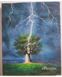 "Original Oil Painting On Canvas, Original Art, Wall Art by H REMINGTON 10""X8""-LIGHTNING STRIKES PAINTING"