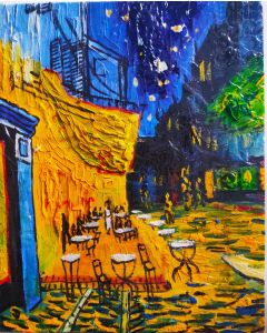 "Original Oil Painting On Canvas, Original Art, Wall Art 10""X8""-CAFE TERRACE AT NIGHT PAINTING"
