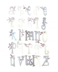 Girls Lowercase Alphabet Wall Letters – White Finished MDF Letters