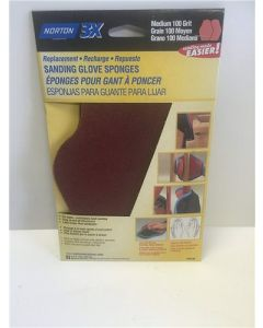 Norton, 3X, Replacement, Sanding Glove Sponges, Med., 100 Grit