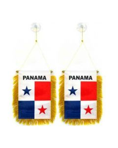 Mini Flag Banner Rearview Mirror - Hanging PANAMA Flag With Fringe Suction Cups (2-Pack)